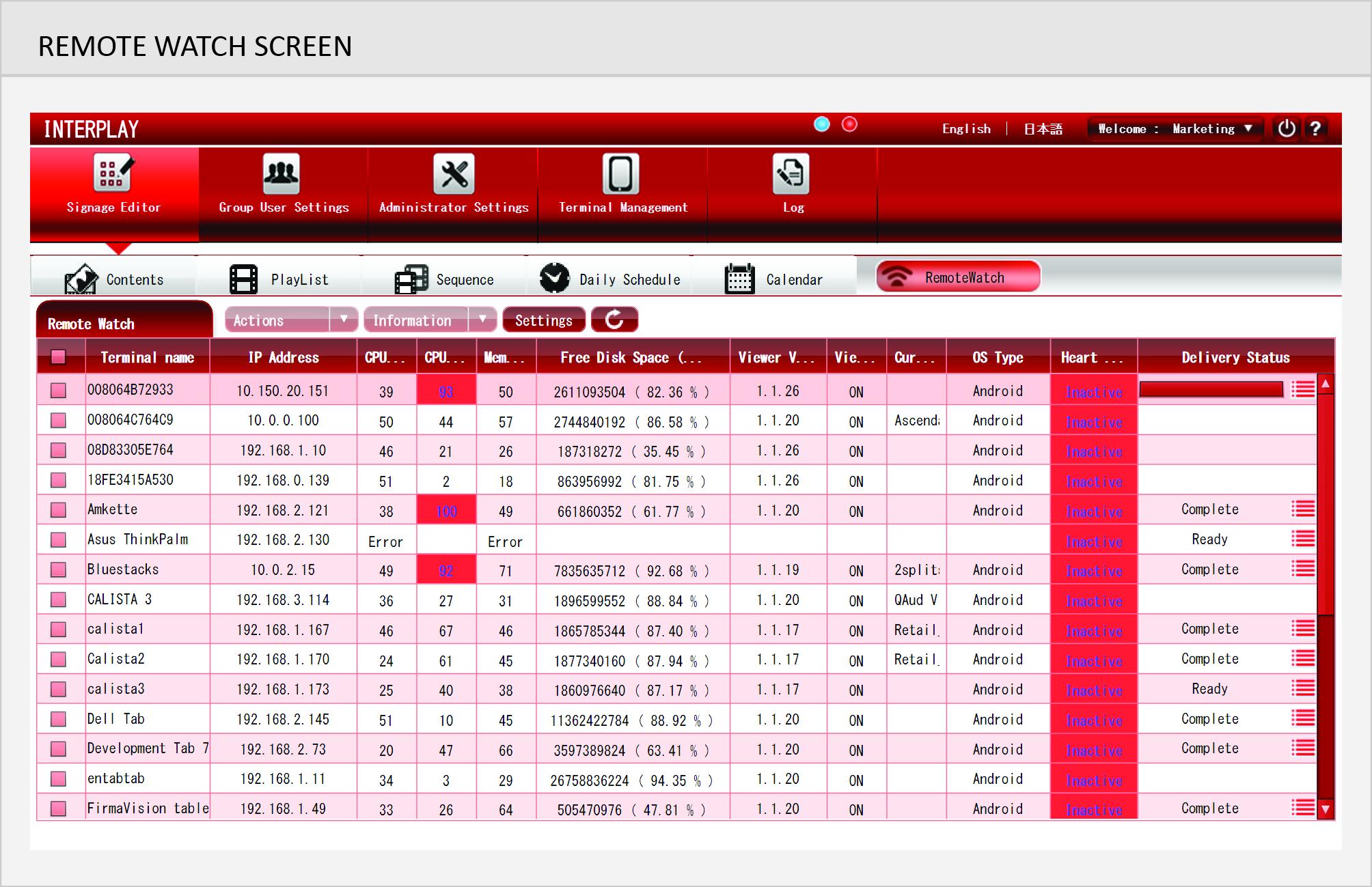 Remote Watch Screen